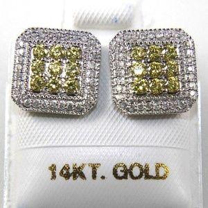 Sapphire & Diamond Square Stud Earrings 1.36Ct WG